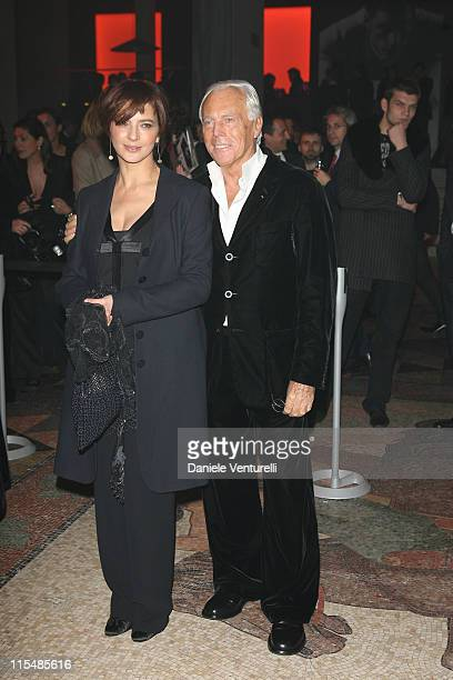 Laura Morante and Giorgio Armani during Milan Fashion Week Fall/Winter 2007 Armani After Party in Milan Italy
