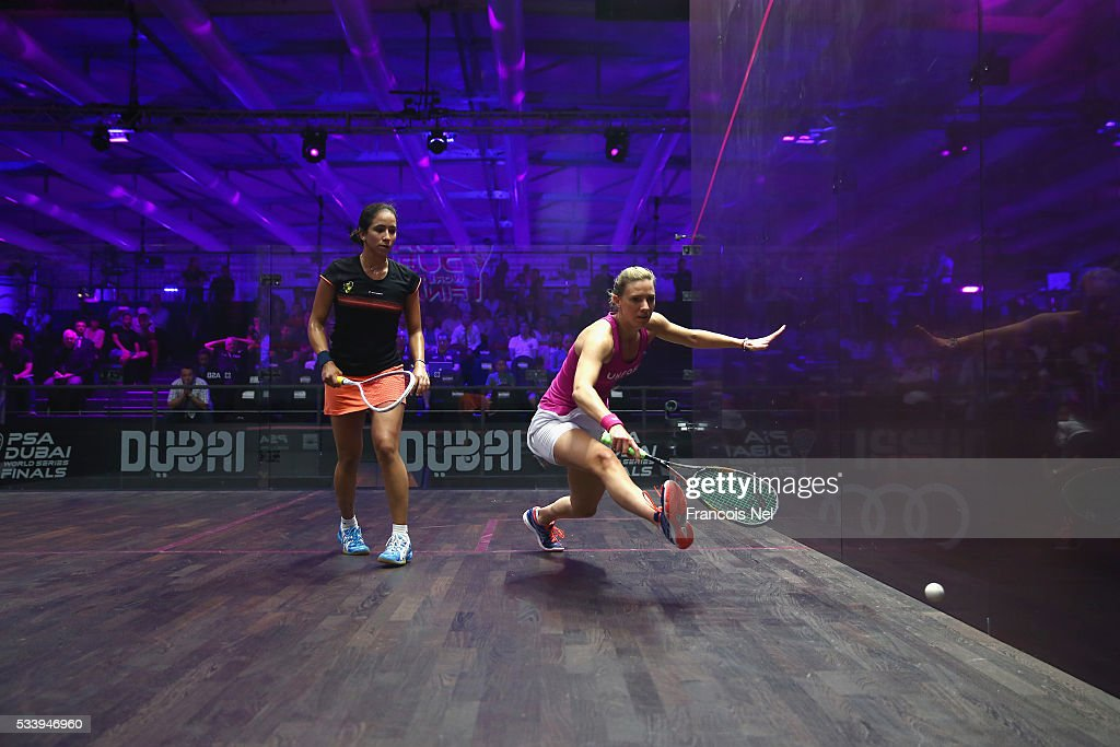 Laura Mssaro of England competes against Nouran Gohar of Egypt during day one of the PSA Dubai World Series Finals 2016 at Burj Park on May 24, 2016 in Dubai, United Arab Emirates.