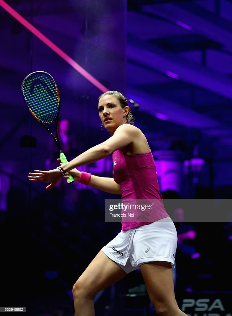 Laura Mssaro of England in action against Nouran Gohar of Egypt during day one of the PSA Dubai World Series Finals 2016 at Burj Park on May 24, 2016 in Dubai, United Arab Emirates.