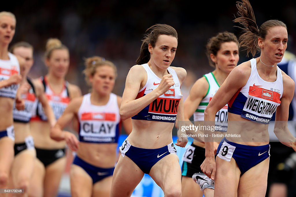 <a gi-track='captionPersonalityLinkClicked' href=/galleries/search?phrase=Laura+Muir&family=editorial&specificpeople=9557452 ng-click='$event.stopPropagation()'>Laura Muir</a> and <a gi-track='captionPersonalityLinkClicked' href=/galleries/search?phrase=Laura+Weightman&family=editorial&specificpeople=4847227 ng-click='$event.stopPropagation()'>Laura Weightman</a> of Great Britain in the womens 1500m during day three of the British Championships Birmingham at Alexander Stadium on June 26, 2016 in Birmingham, England.