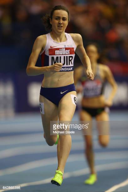 Laura Muir competes in the women's 1000 metres during the Muller Indoor Grand Prix at the Barclaycard Arena on February 18 2017 in Birmingham England