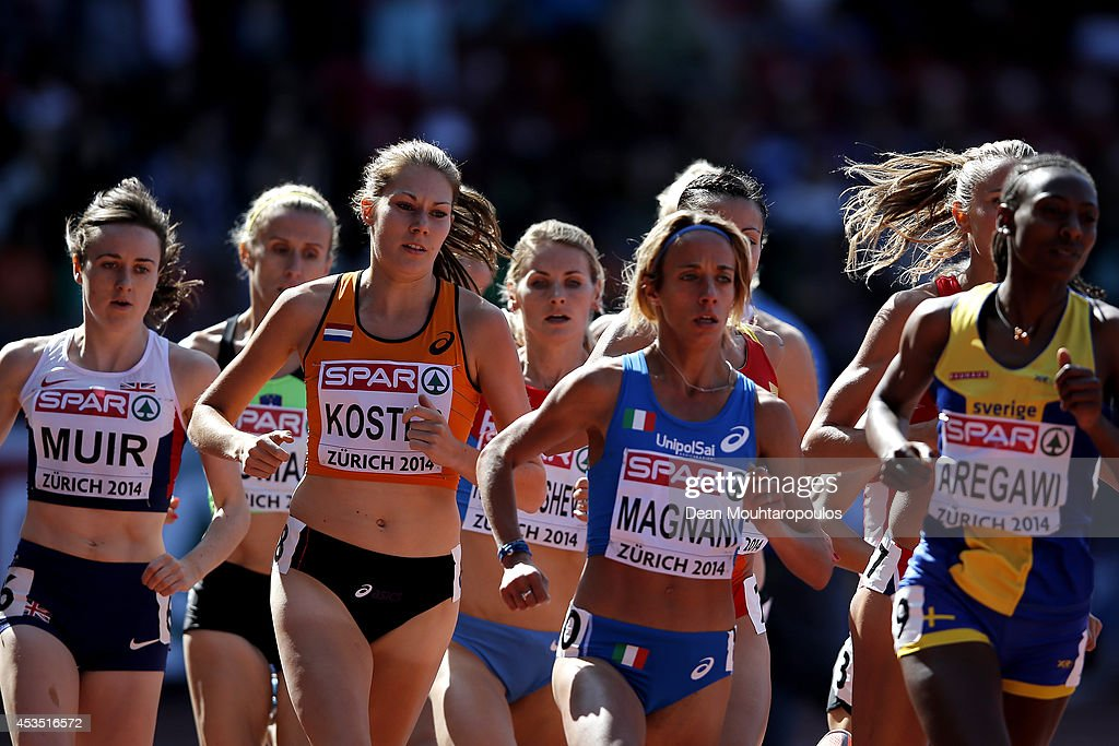 Laura Muir of Great Britain and Northern Ireland, Maureen Koster of the Netherlands and Margherita Magnani of Italy compete in the Women's 1500 metres heats during day one of the 22nd European Athletics Championships at Stadium Letzigrund on August 12, 2014 in Zurich, Switzerland.