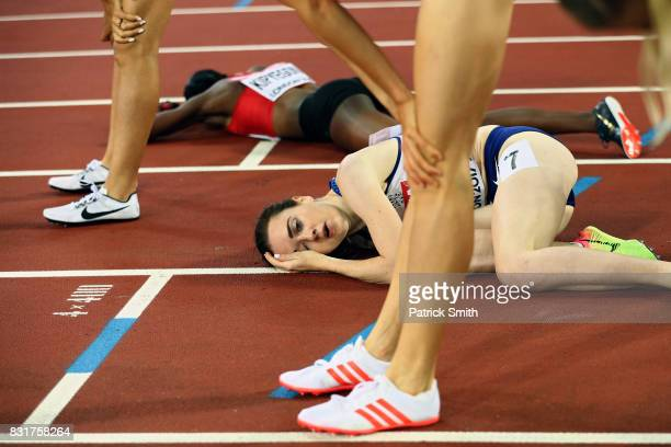 Laura Muir of Great Britain reacts as Faith Chepngetich Kipyegon of Kenya won gold in the womens 1500m final during day four of the 16th IAAF World...