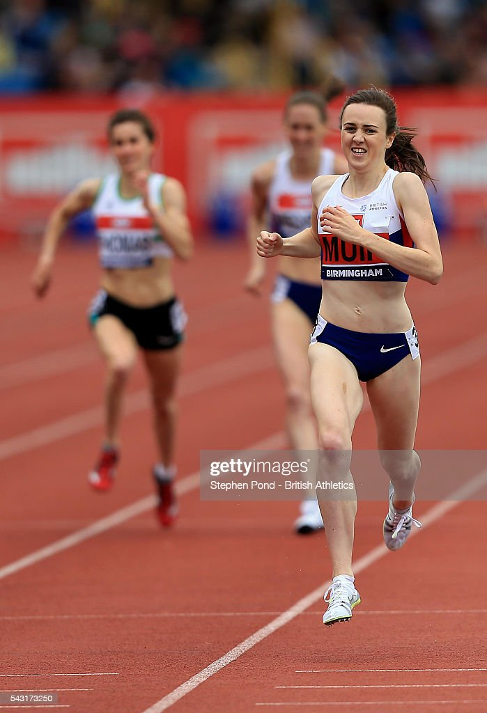 <a gi-track='captionPersonalityLinkClicked' href=/galleries/search?phrase=Laura+Muir&family=editorial&specificpeople=9557452 ng-click='$event.stopPropagation()'>Laura Muir</a> of Great Britain wins the womens 1500m during day three of the British Championships Birmingham at Alexander Stadium on June 26, 2016 in Birmingham, England.