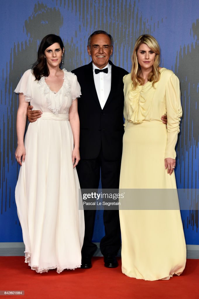 Laura Mulleavy, festival director Alberto Barbera and Kate Mulleavy walks the red carpet ahead of the 'Woodshock' screening during the 74th Venice Film Festival at Sala Giardino on September 4, 2017 in Venice, Italy.