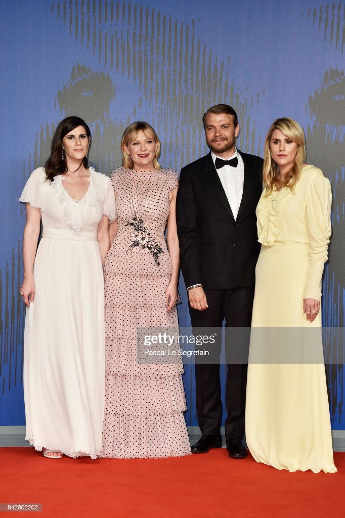 Laura Mulleavy, Pilou Asbaek, Kirsten Dunst and Kate Mulleavy walk the red carpet ahead of the 'Woodshock' screening during the 74th Venice Film Festival at Sala Giardino on September 4, 2017 in Venice, Italy.