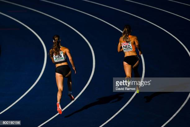 Laura Muller of Germany and Lisanne de Witte of Netherlands compete in the Women's 400m heat 1 during day 1 of the European Athletics Team...