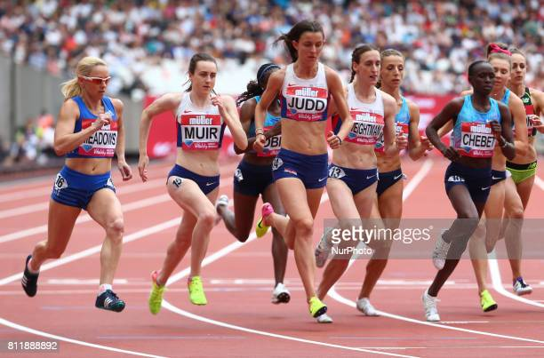 LR Laura Mur Jessica Judd Laura Wrightmam Angelika Cichocka Winny Chebet and Linden Hall Women's 1 Mile Race during Muller Anniversary Games at...