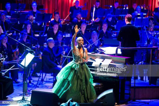 Laura Mvula and Composer Troy Miller perform live at The Barbican Centre on July 21 2017 in London United Kingdom