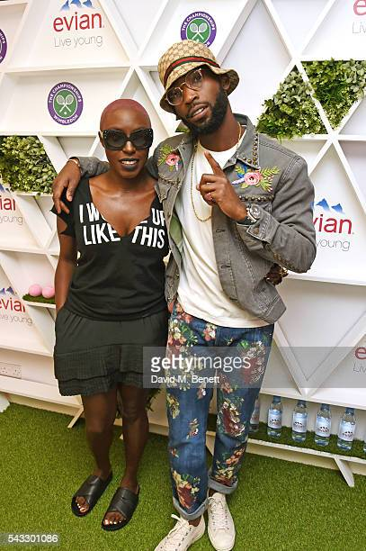 Laura Mvula and Tinie Tempah attend the evian Live Young suite during Wimbledon 2016 at the All England Tennis and Croquet Club on June 27 2016 in...