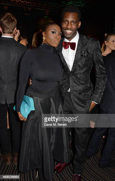 Laura Mvula and Wretch 32 attend a party hosted by EE and Esquire at The Savoy Hotel ahead of the 2014 EE British Academy Film Awards on February 12...
