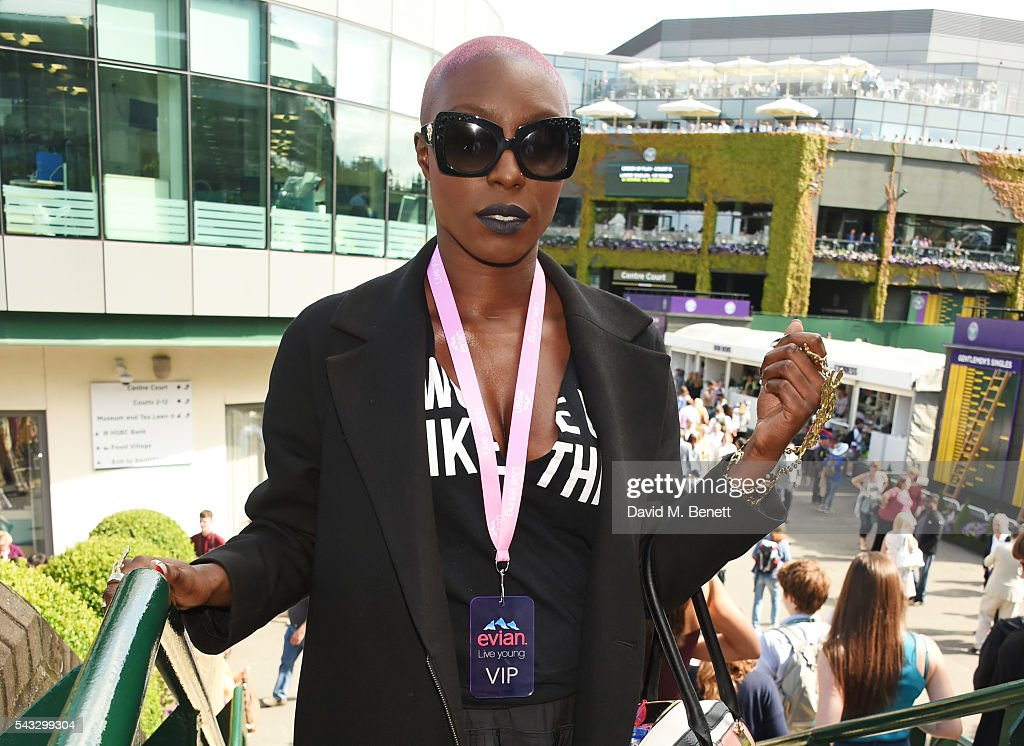 <a gi-track='captionPersonalityLinkClicked' href=/galleries/search?phrase=Laura+Mvula&family=editorial&specificpeople=10006726 ng-click='$event.stopPropagation()'>Laura Mvula</a> attends the evian Live Young suite during Wimbledon 2016 at the All England Tennis and Croquet Club on June 27, 2016 in London, England.