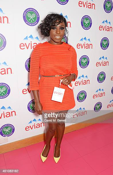 Laura Mvula attends the evian Live Young suite on the opening day of Wimbledon at the All England Lawn Tennis and Croquet Club on June 23 2014 in...
