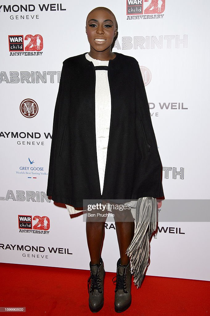 Laura Mvula attends the Raymond Weil pre-Brit Awards dinner and 20th anniversary celebration of War Child at The Mosaica on January 24, 2013 in London, England.