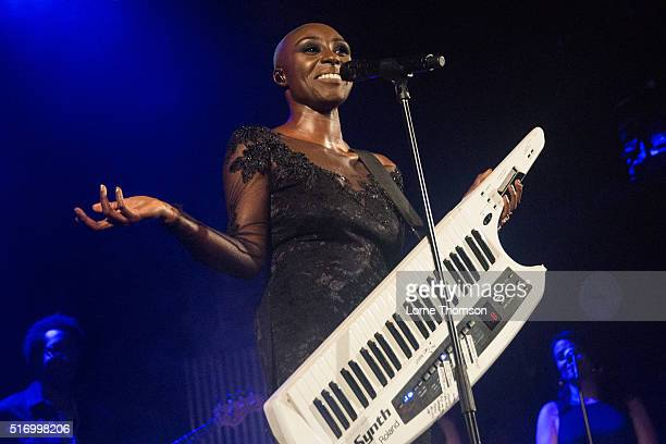 Laura Mvula performs at Islington Assembly Hall on March 22 2016 in London England