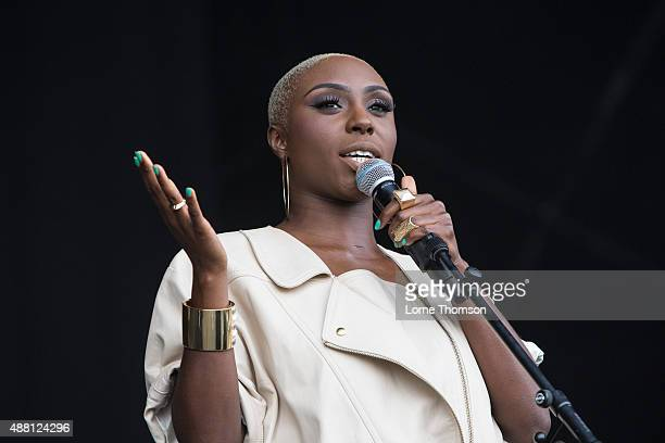 Laura Mvula performs on the Main Stage at Blackheath Common on September 13 2015 in London England