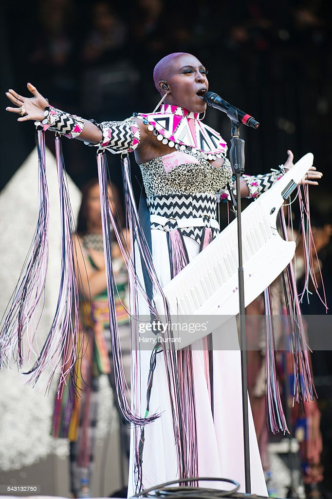Laura Mvula performs on The Pyramid Stage, Glastonbury Festival 2016 at Worthy Farm, Pilton on June 26, 2016 in Glastonbury, England.