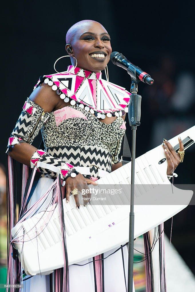 Laura Mvula performs on The Pyramid Stage, Glastonbury Festival 2016 at Worthy Farm, Pilton on June 26, 2016 in Glastonbury, England.