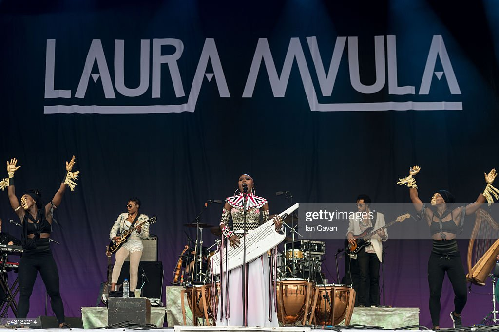 <a gi-track='captionPersonalityLinkClicked' href=/galleries/search?phrase=Laura+Mvula&family=editorial&specificpeople=10006726 ng-click='$event.stopPropagation()'>Laura Mvula</a> performs on the Pyramid Stage on day 2 of the Glastonbury Festival at Worthy Farm, Pilton on June 26, 2016 in Glastonbury, England. Now its 46th year the festival is one largest music festivals in the world and this year features headline acts Muse, Adele and Coldplay. The Festival, which Michael Eavis started in 1970 when several hundred hippies paid just £1, now attracts more than 175,000 people.