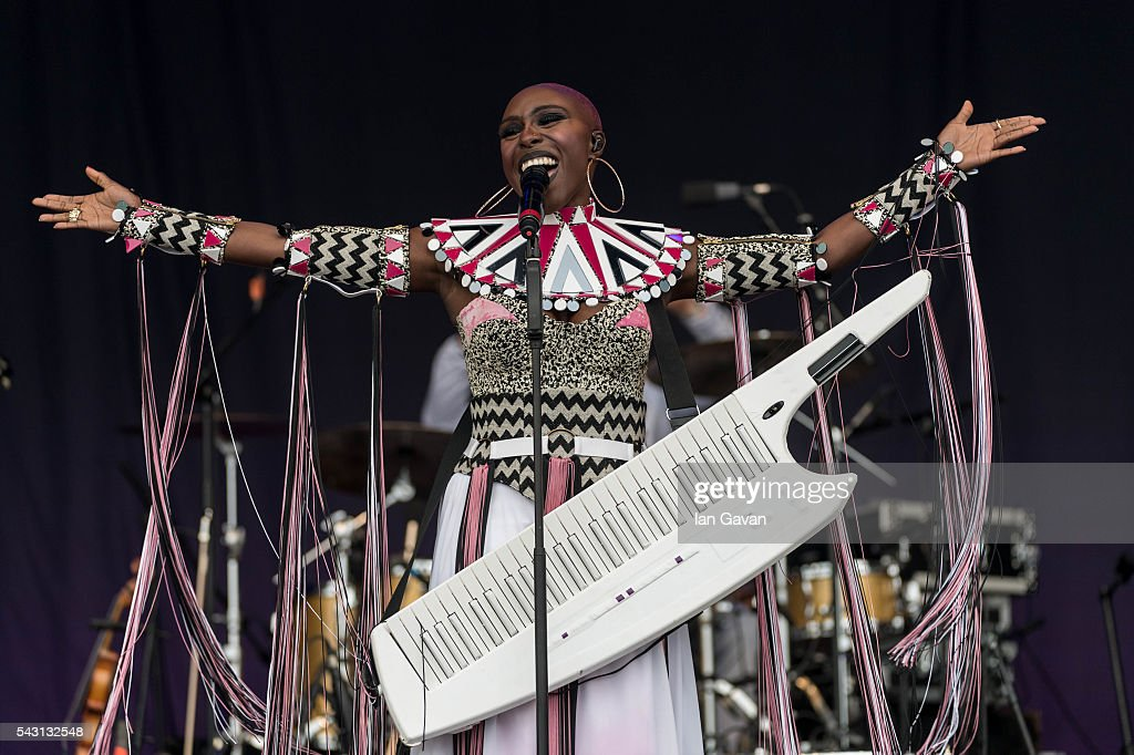Laura Mvula performs on the Pyramid Stage on day 2 of the Glastonbury Festival at Worthy Farm, Pilton on June 26, 2016 in Glastonbury, England. Now its 46th year the festival is one largest music festivals in the world and this year features headline acts Muse, Adele and Coldplay. The Festival, which Michael Eavis started in 1970 when several hundred hippies paid just £1, now attracts more than 175,000 people.