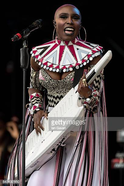 Laura Mvula performs on the Pyramid Stage on day 2 of the Glastonbury Festival at Worthy Farm Pilton on June 26 2016 in Glastonbury England Now its...