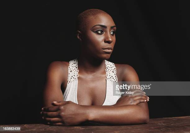 Laura Mvula poses for a portrait backstage at The Fader Fort presented by Converse during SXSW on March 16 2013 in Austin Texas