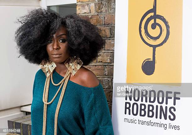 Laura Mvula visits the Nordoff Robbins Music Therapy Centre on July 2 2014 in London England