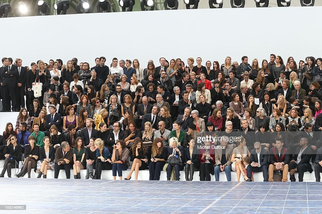 Laura Neiva, Mario Testino, Astrid Berges Frisbey, Aurelie Dupont, Laura Bailey, Ines de la Fressange, Maiwenn, Lou Doillon, Ellen von Unwerth, Lun-Mei Guey, Rina Ota, Patrick Demarchelier, Jennifer Lopez, Emme Maribel Muniz, Casper Smart, Baptiste Giabiconi and Kanye West attend the Chanel Spring / Summer 2013 show as part of Paris Fashion Week at Grand Palais on October 2, 2012 in Paris, France.