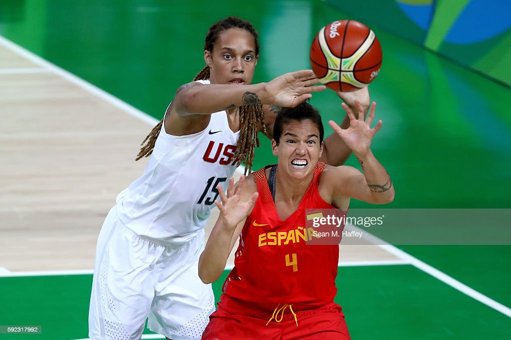 Laura Nicholls of Spain goes for the ball against Brittney Griner of United States during the Women's Gold Medal Game between United States and Spain...
