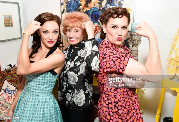 Laura Osnes America's Longest Working 'Rosie the Riveter' 97 year old Elinor Otto and Beth Level backstage at 'Bandstand' on Broadway at Bernard...