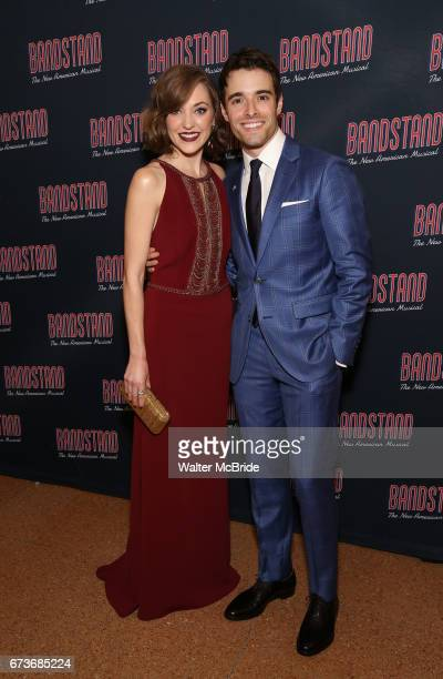 Laura Osnes and Corey Cott attends the Broadway Opening Night After Party of 'Bandstand' at the Edison Ballroom on 4/26/2017 in New York City