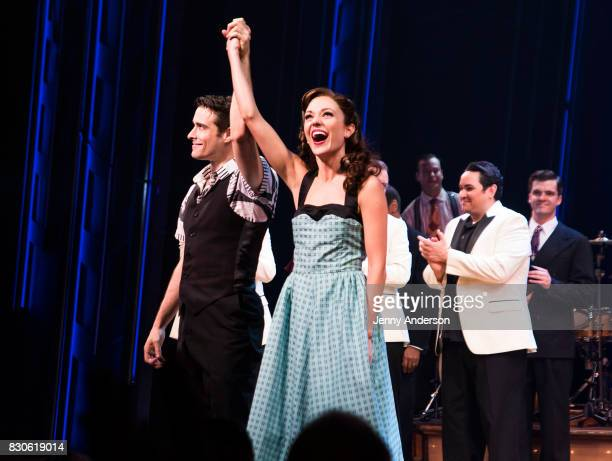 Laura Osnes and Corey Cott during 'Bandstand' on Broadway at Bernard Jacobs Theater on August 11 2017 in New York City