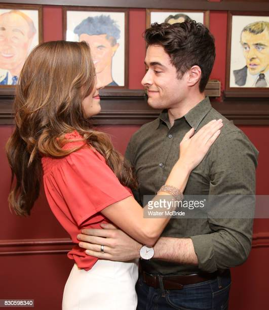 Laura Osnes and Corey Cott during the Corey Cott Sardi's Portrait unveiling at Sardi's Restaurant on August 11 2017 in New York City