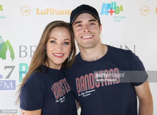 Laura Osnes and Corey Cott from the cast of 'Bandstand' attend 1067 Lite FM's Broadway In Bryant Park 2017 on August 10 2017 in New York City