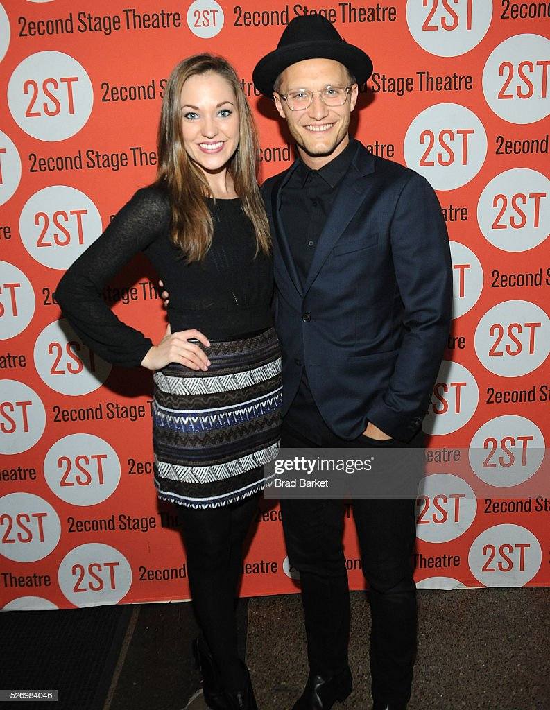 Laura Osnes and Nathan Johnson attend 'Dear Evan Hansen' Off-Broadway opening celebration at Second Stage Theatre on May 1, 2016 in New York City.