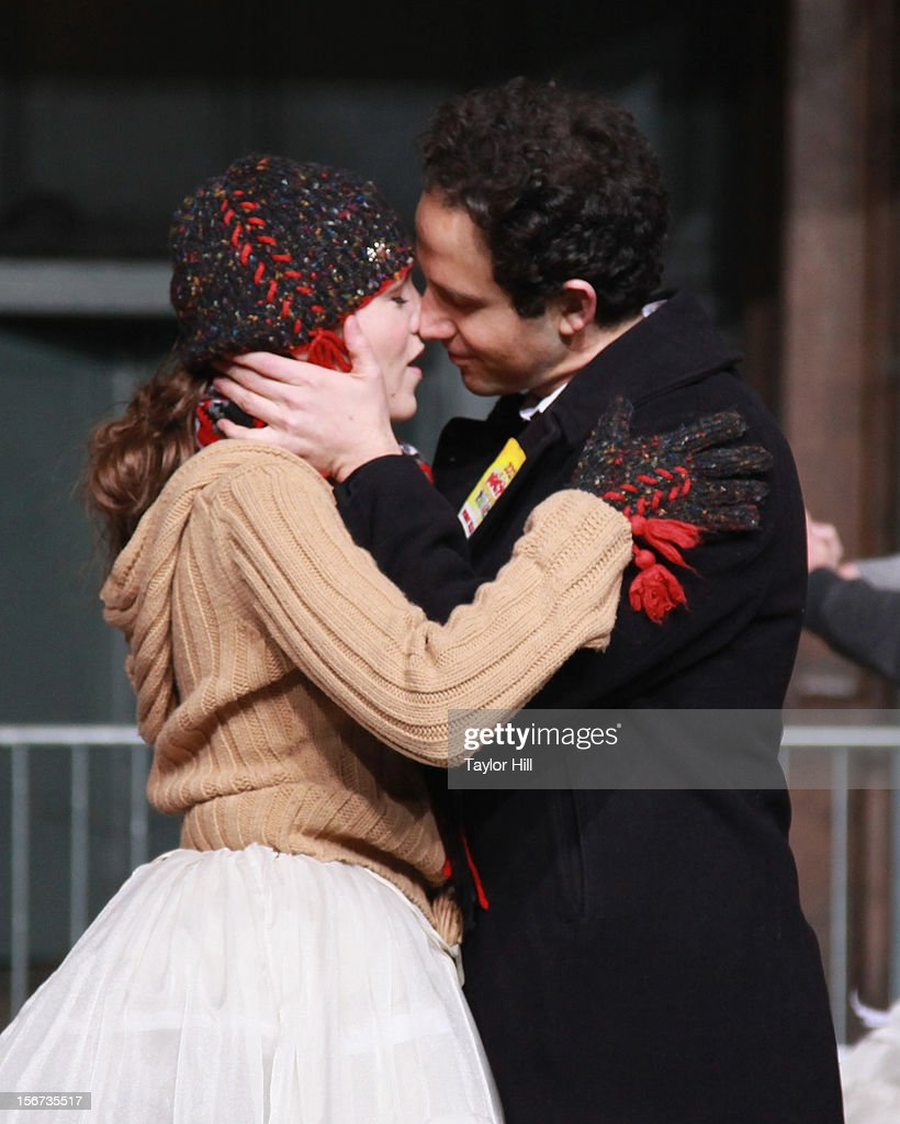 <a gi-track='captionPersonalityLinkClicked' href=/galleries/search?phrase=Laura+Osnes&family=editorial&specificpeople=4213655 ng-click='$event.stopPropagation()'>Laura Osnes</a> and Santino Fontana and the Broadway cast of Cinderella perform at Day One of the 86th Anniversary Macy's Thanksgiving Day Parade Rehearsals at Macy's Herald Square on November 19, 2012 in New York City.