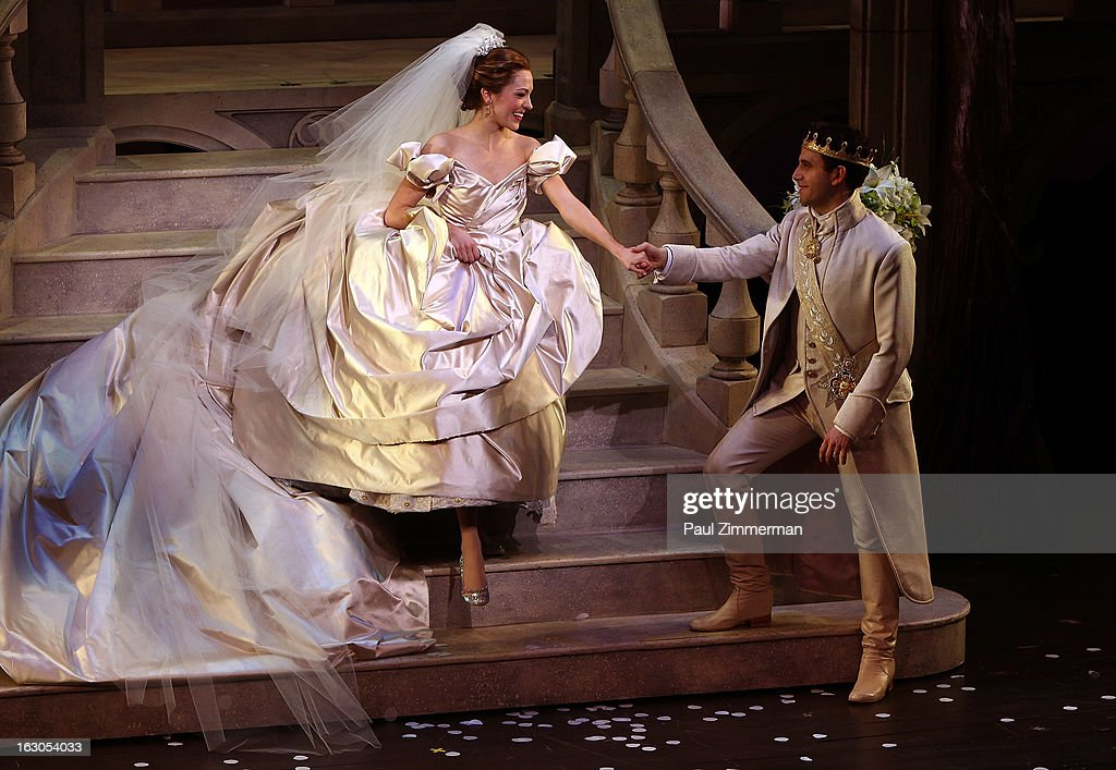 <a gi-track='captionPersonalityLinkClicked' href=/galleries/search?phrase=Laura+Osnes&family=editorial&specificpeople=4213655 ng-click='$event.stopPropagation()'>Laura Osnes</a> (L) and Santino Fontana 'Cinderella' Broadway Opening Night curtain call at Broadway Theatre on March 3, 2013 in New York City.