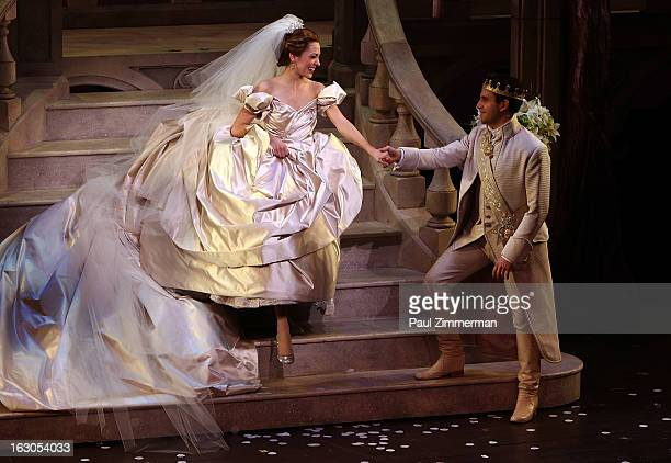 Laura Osnes and Santino Fontana 'Cinderella' Broadway Opening Night curtain call at Broadway Theatre on March 3 2013 in New York City