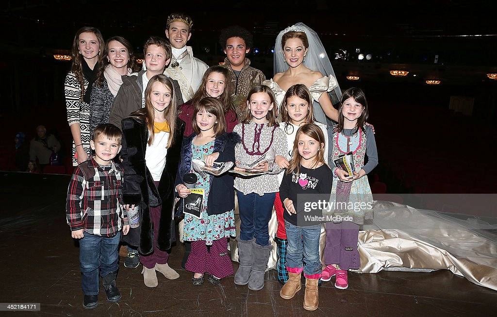 Laura Osnes and Santino Fontana with The Robertson Family from 'Duck Dynasty' backstage at 'Cinderella' On Broadway at the Broadway Theatre on November 26, 2013 in New York City.