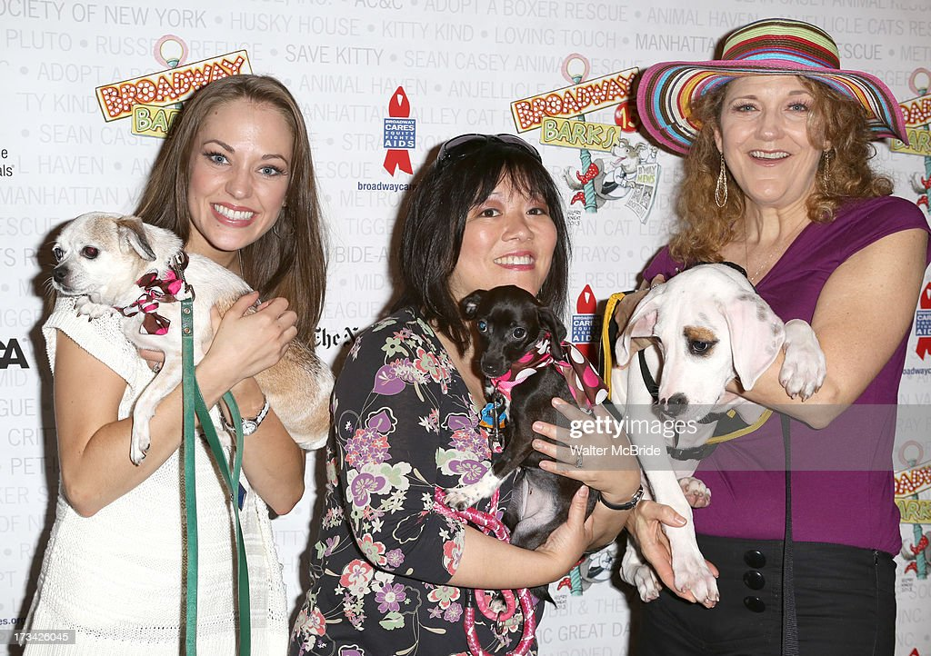 Laura Osnes, Ann Harada and Victoria Clark backstage during Broadway Barks 15 in Shubert Alley on July 13, 2013 in New York City.