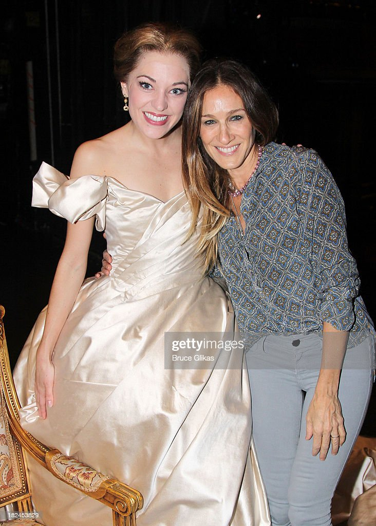 <a gi-track='captionPersonalityLinkClicked' href=/galleries/search?phrase=Laura+Osnes&family=editorial&specificpeople=4213655 ng-click='$event.stopPropagation()'>Laura Osnes</a> as 'Cinderella' and <a gi-track='captionPersonalityLinkClicked' href=/galleries/search?phrase=Sarah+Jessica+Parker&family=editorial&specificpeople=201693 ng-click='$event.stopPropagation()'>Sarah Jessica Parker</a> pose backstage at 'Rodgers & Hammerstein's Cinderella' on Broadway at The Broadway Theater on September 29, 2013 in New York City.
