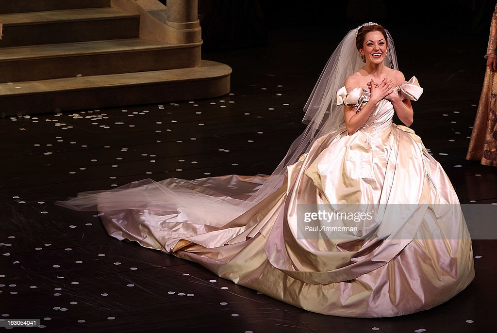 <a gi-track='captionPersonalityLinkClicked' href=/galleries/search?phrase=Laura+Osnes&family=editorial&specificpeople=4213655 ng-click='$event.stopPropagation()'>Laura Osnes</a> at 'Cinderella' Broadway Opening Night curtain call at Broadway Theatre on March 3, 2013 in New York City.