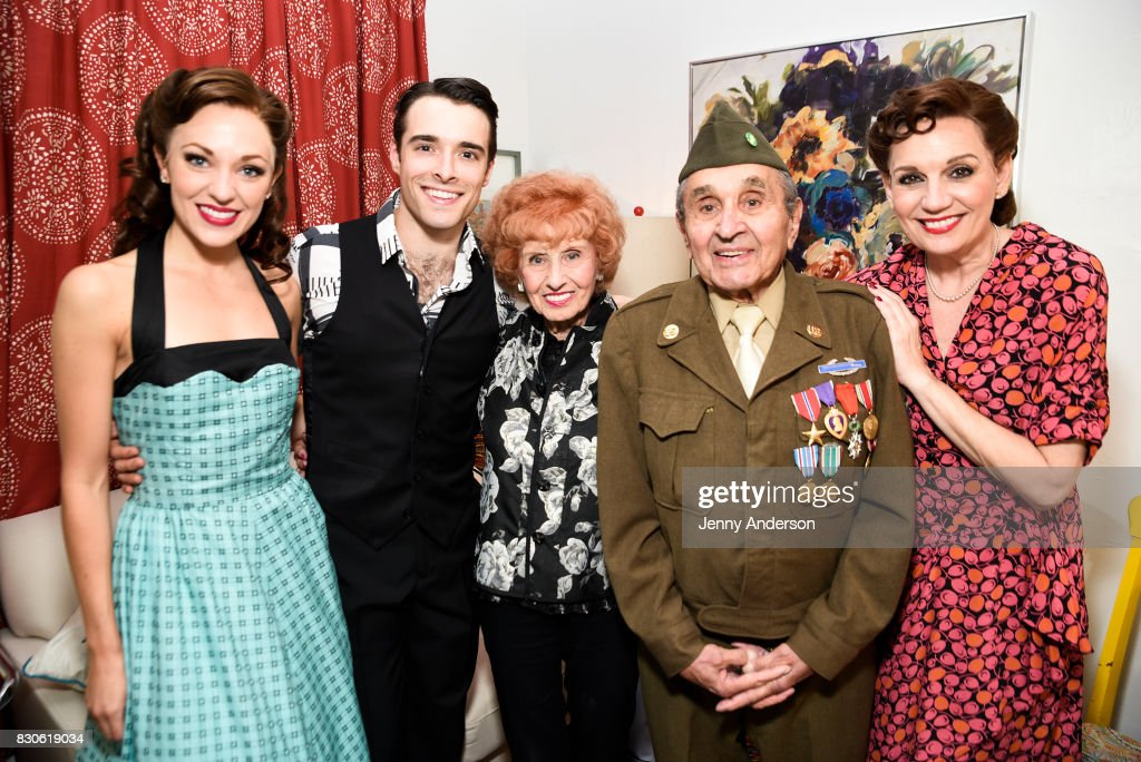 Laura Osnes, Corey Cott, America's Longest Working 'Rosie the Riveter' 97 year old Elinor Otto, decorated Battle of the Bulge Purple Heart recipient 93 year old Luke Gasparre and Beth Level backstage at 'Bandstand' on Broadway at Bernard Jacobs Theater on August 11, 2017 in New York City.