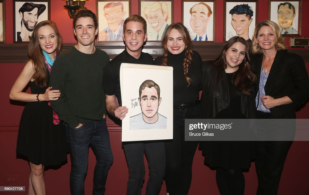 Laura Osnes, Corey Cott, Ben Platt, Kathryn Gallagher, Beanie Feldstein and Kelli O'Hara pose as Ben Platt gets honored for his performance in his broadway show 'Dear Evan Hansen' wth a caricature on the wall of fame at Sardi's on May 30, 2017 in New York City.