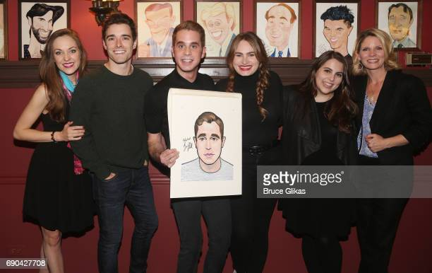 Laura Osnes Corey Cott Ben Platt Kathryn Gallagher Beanie Feldstein and Kelli O'Hara pose as Ben Platt gets honored for his performance in his...