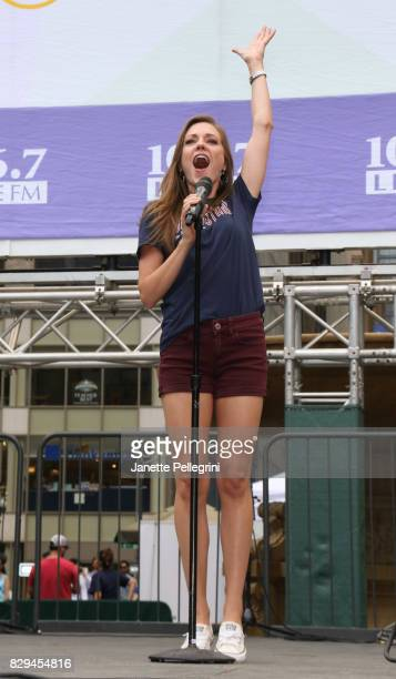 Laura Osnes from the cast of 'Bandstand' performs at 1067 Lite FM's Broadway In Bryant Park 2017 on August 10 2017 in New York City