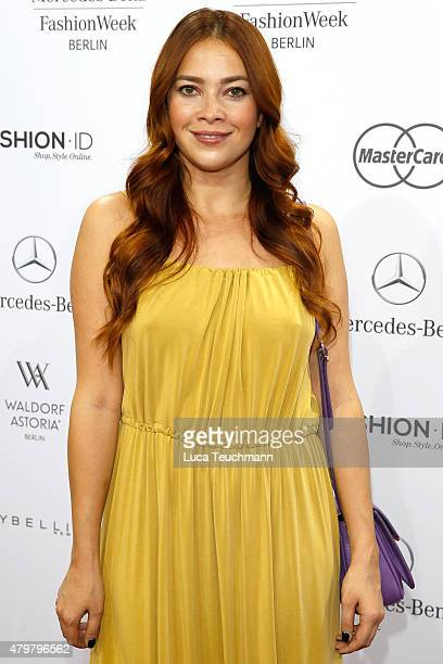 Laura Osswald attends the Riani show during the MercedesBenz Fashion Week Berlin Spring/Summer 2016 at Brandenburg Gate on July 7 2015 in Berlin...