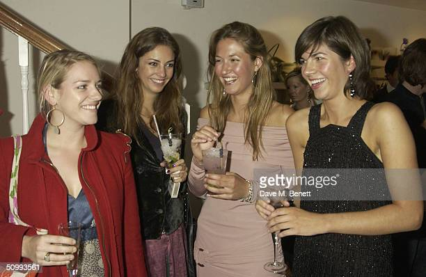 Laura Parker Bowles Rose Hanbury and Emma Lopes attend the launch of new boutique 'Austique' at its Kings Road location on June 23 2004 in London The...