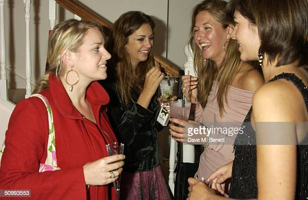 Laura ParkerBowles Rose Hanbury and Emma Lopes attend the launch of new boutique 'Austique' at its Kings Road location on June 23 2004 in London The...