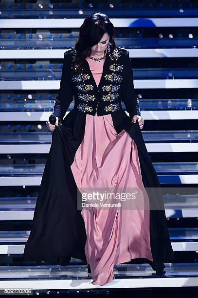 Laura Pausini attends the opening night of the 66th Festival di Sanremo 2016 at Teatro Ariston on February 9 2016 in Sanremo Italy